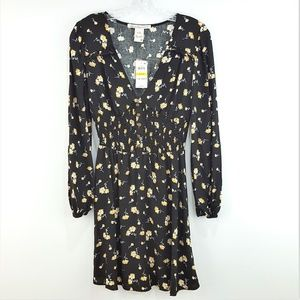 NWT American Rag Black Floral Long Sleeve Dress
